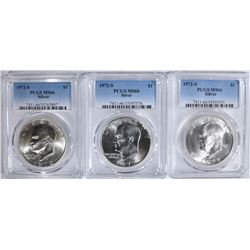 3 1972-S EISENHOWER SILVER DOLLARS PCGS MS-66