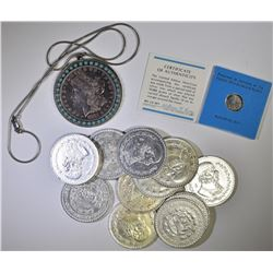 MIXED LOT;  FRANKLIN MINT APPOLLO 14 SILVER GIFT