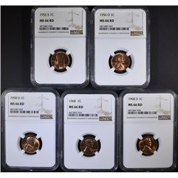 5 NGC GRADED MS-66 RED LINCOLN CENTS:
