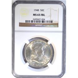 1948 FRANKLIN HALF DOLLAR NGC MS-65 FBL