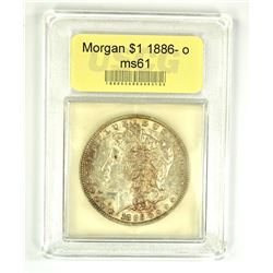 1886-O MORGAN DOLLAR, USCG BU