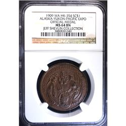 1909 WA HK-354 SO CALLED DOLLAR, NGC MS-64 BN