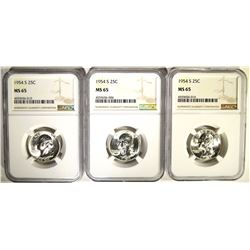 3 - 1954-S WASHINGTON QTRS NGC MS65