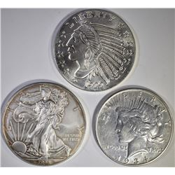 2008 ASE, 1 OZ SILVER ROUND, & 1934 PEACE DOLLAR