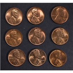 9-GEM BU RED LINCOLN CENTS