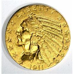 1911-S $5.00 GOLD INDIAN, CH BU