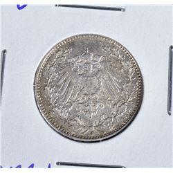 1914 J SILVER 1/2 MARK  CH.BU