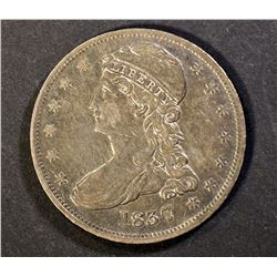 1837 REEDED EDGE HALF DOLLAR, XF