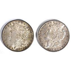 1885 & 1889 MORGAN DOLLARS  CH BU, BOTH TONED