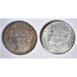 """1880-O """"MICRO O"""" & 1897-O  CH AU MORGAN DOLLARS"""
