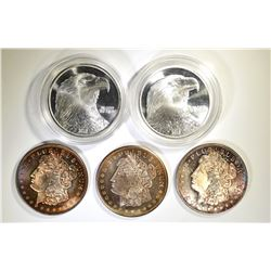 5 ONE OUNCE .999 SILVER ROUNDS