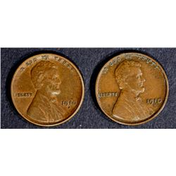 2-1910-S LINCOLN CENTS, XF NICE!