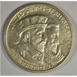 1924 HUGUENOT COMMEM HALF DOLLAR, AU/BU