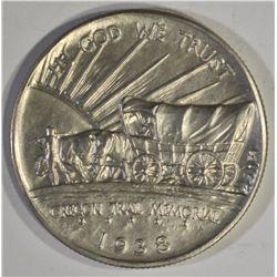 1938-D OREGON TRAIL COMMEM HALF DOLLAR, GEM BU