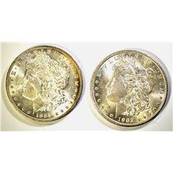 1885-O & 1902-O CH BU MORGAN DOLLARS