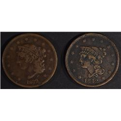 """1839 """"BOOBY HEAD"""" VF & 1842 XF LARGE CENTS"""