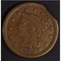 1855 CLIPPED LARGE CENT, VF