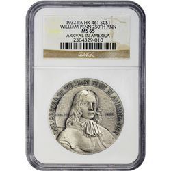 So-Called Dollar. Pennsylvania. 1682-1932 Arrival of William Penn in America 250th Anniversary. HK-4