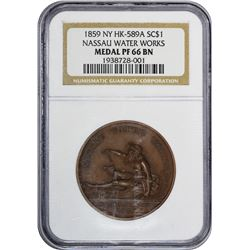 New York. Brooklyn. 1859 Nassau Water Works. HK-589a. Bronze. 33 mm. Proof-66 BN NGC