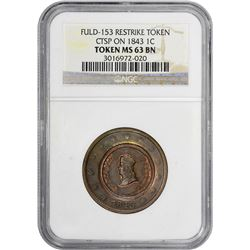 Civil War Token. Patriotic. Fuld Obverse 153 Counterstamped on 1843 Large Cent. MS- 63 BN NGC.