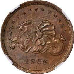 Store Card. Ohio/ Cincinnati. W.C. McClenahan & Co. F-165DL-4a. Copper. Rarity-?  MS-62 BN NGC.
