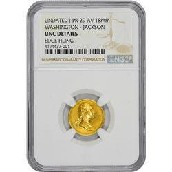 Undated Medallion. George Washington – Andrew Jackson. Julian PR-29. Gold. 18 mm. Plain Edge. Medal