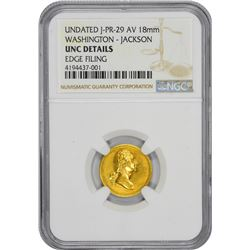 Undated Medallion. George Washington – Andrew Jackson. Julian PR-29. Gold. 18 mm. Plain Edge. Medal