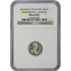 Undated Medallion. George Washington – Andrew Jackson. Julian PR-29. White Metal. 18 mm. Plain Edge.