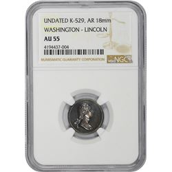 Undated Medallion. George Washington – Abraham Lincoln. Julian PR-30, K-529. Silver. 18 mm. Plain Ed