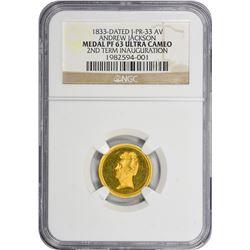 Medallion. 1833-Dated Andrew Jackson Medallion. Julian PR-33. Gold. 17 mm. Proof-63 Ultra Cameo NGC.