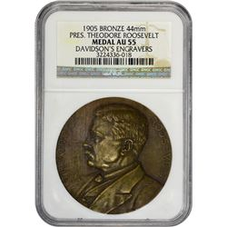 1905 Theodore Roosevelt Inaugurated Medal. Bronze. 44mm. AU-55 NGC.