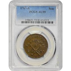 French Colonies. 1767-A Sou. Paris Mint. Copper. No RF Counterstamp. AU-55 PCGS.