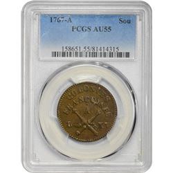 French Colonies. 1767-A Sou. Paris Mint. Copper. No RF Counterstamp. AU-55 PCGS.