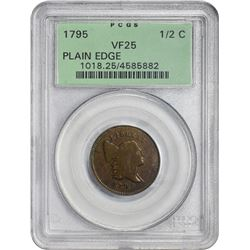 1795 C-4. Plain Edge. Punctuated Date. Rarity-3. VF-25 PCGS. OGH