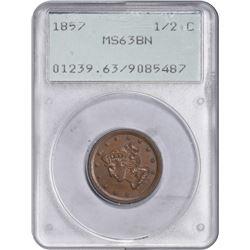 1857 C-1. Rarity-2. MS-63 BN PCGS. OGH