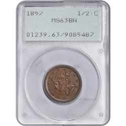 1857 C-1. Rarity-2. MS-63 BN PCGS. OGH