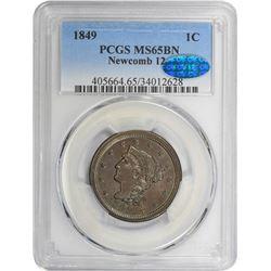 1849 N-12. Rarity-1. MS-65 BN PCGS. CAC.