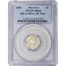 1959 Cent on Silver Dime Planchet. Mint Error. MS-63 PCGS.