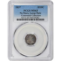 1837 Liberty Seated. No Stars. Large Date. MS-63 PCGS.