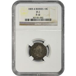 1805 JR-2. 4 Berries. Rarity-2. Fine-12 NGC