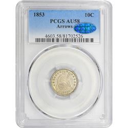 1853 Arrows. AU-58 PCGS. CAC.