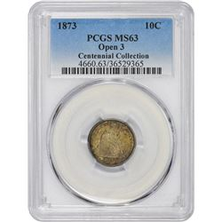 1873 No Arrows. Open 3. MS-63 PCGS