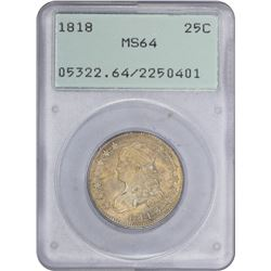 1818 B-2. Wide Date. Rarity-1. MS-64 PCGS. OGH.