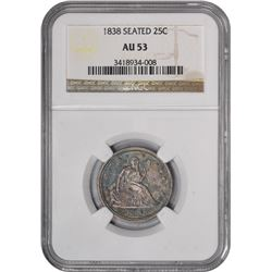 1838 Liberty Seated. AU-53 NGC.