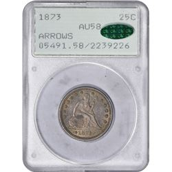 1873 Arrows. AU-58 PCGS. CAC. OGH.