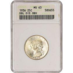 1936 Doubled Die Obverse. MS-63 ANACS.