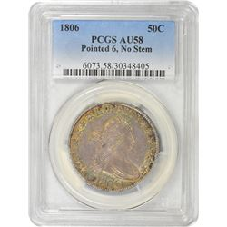 1806 O-109. Pointed 6, No Stem. AU-58 PCGS.