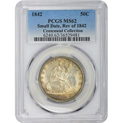 1842 Small Date, Large Letters. MS-62 PCGS.