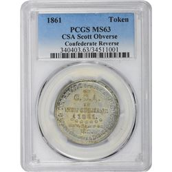 "Select Mint State ""1861"" Scott Token, Struck in 1879 Using Confederat Half Doillar Die"