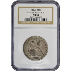 1865 WB-102. Repunched Date. Rarity-5. AU-50 NGC.